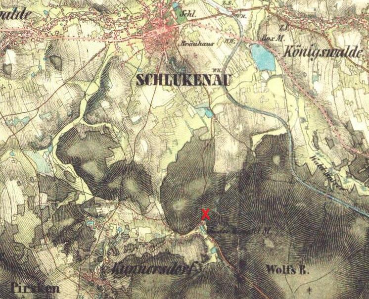 Lage der Grube Schweidrich (mit 'X' markiert) in einer Karte de späten 19. Jahrhunderts.