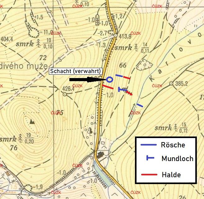 Skizze zur Lage der Stollen und Schächte (eigene Erhebung nach Begehung im Gelände).