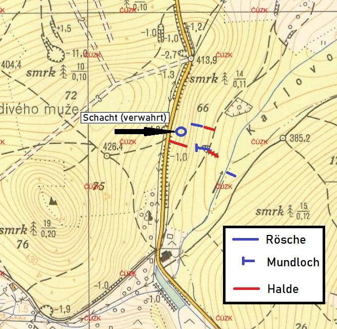 Skizze zur Lage der Stollen und Schächte (eigene Erhebung nach Begehung im Gelände - Kartengrundlage: Topografische Karte System S-1952, 1:10 000)