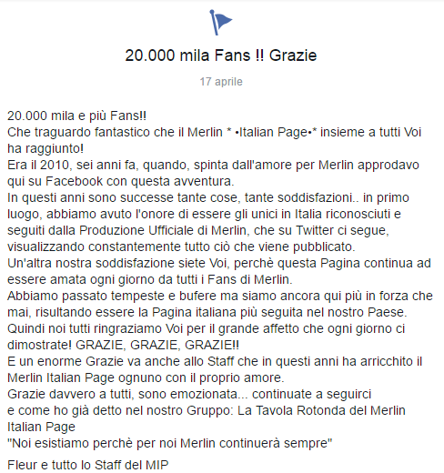 Merlin Italian Page 20.000 mila e più Fans!