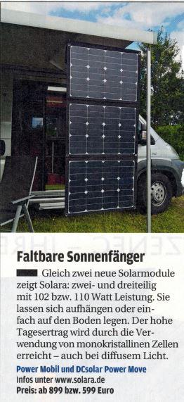 SOLARA Solarmodule in eine robuste faltbare Tasche integriert. Zum Laden von Betterien im Wohnmobil, Caravan, Camper, off road Fahrzeugen und Segelbooten. Immer Solarstrom unabhängig von der Steckdose oder vom Netzanschluss. Leistungsstarke Solartechnik!