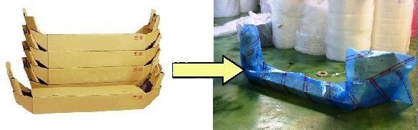 左は段ボールによるバンパー梱包、右はエアセルマットによるバンパー梱包。