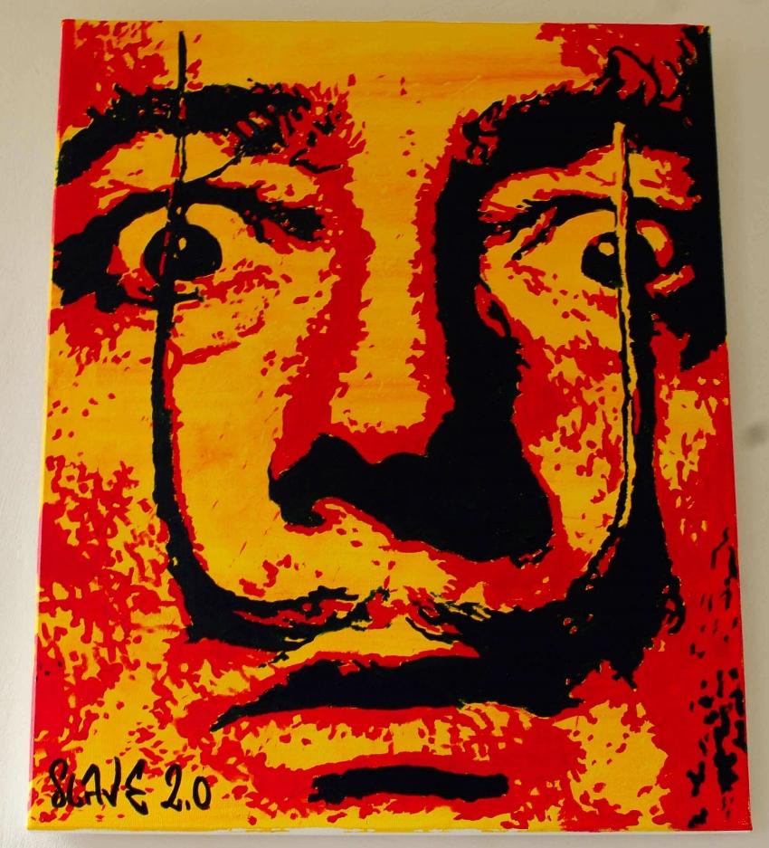 Slavador dali street art sur toile par Slave 2.0