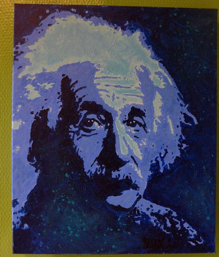 Einstein Albert street art sur toile par Slave 2.0