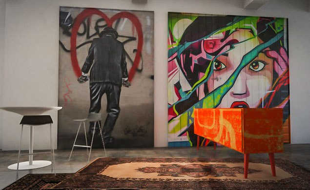 tableau d co street art. Black Bedroom Furniture Sets. Home Design Ideas
