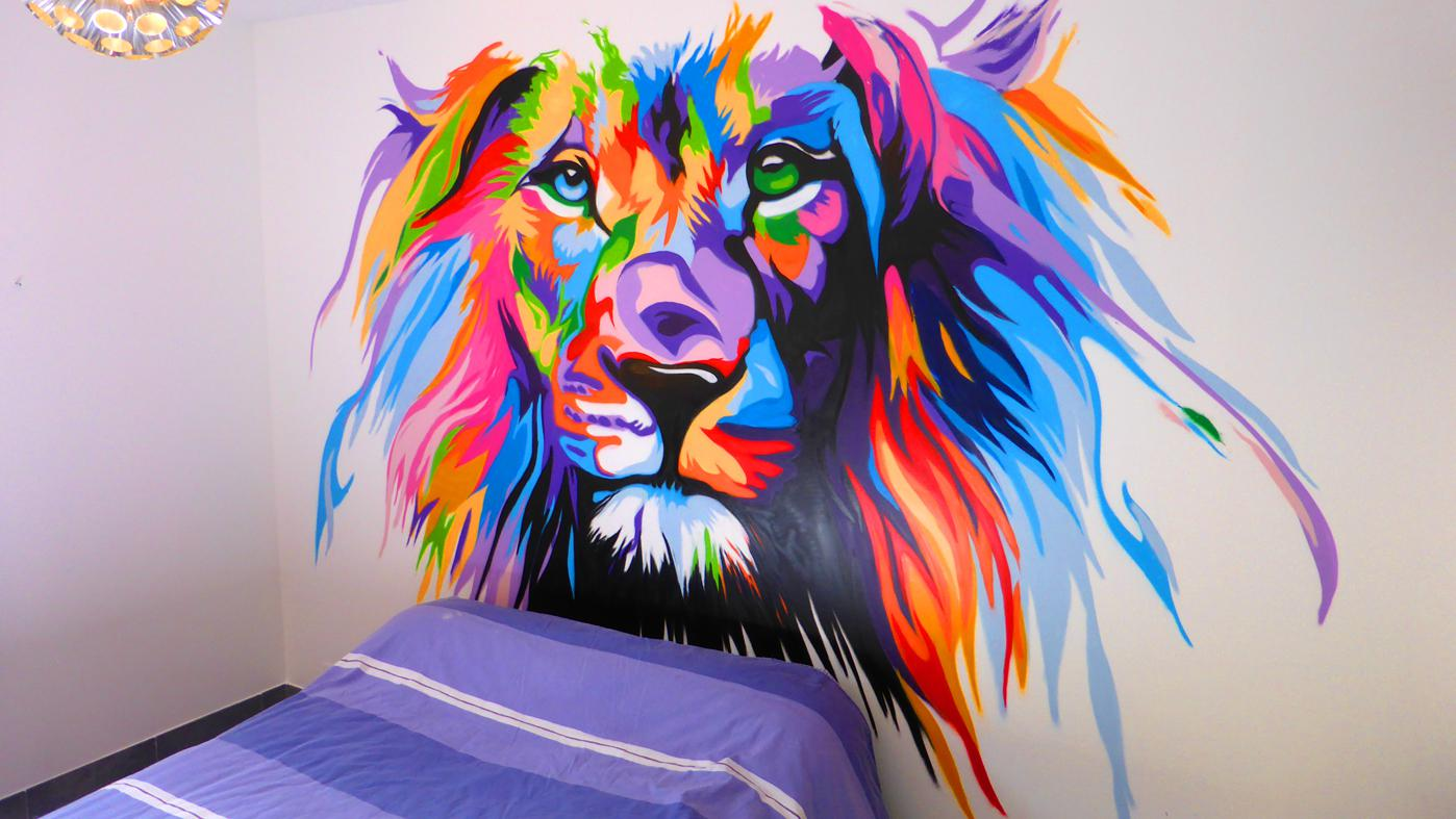graffiti mural lion colorful street art