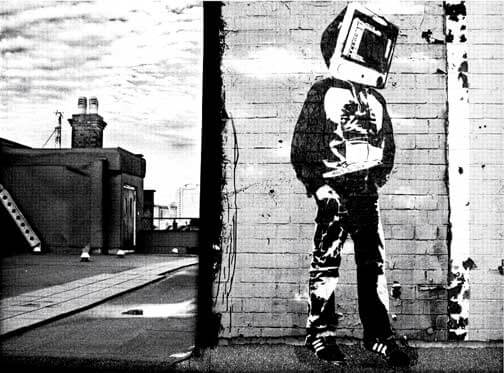 blek le rat street art outside man