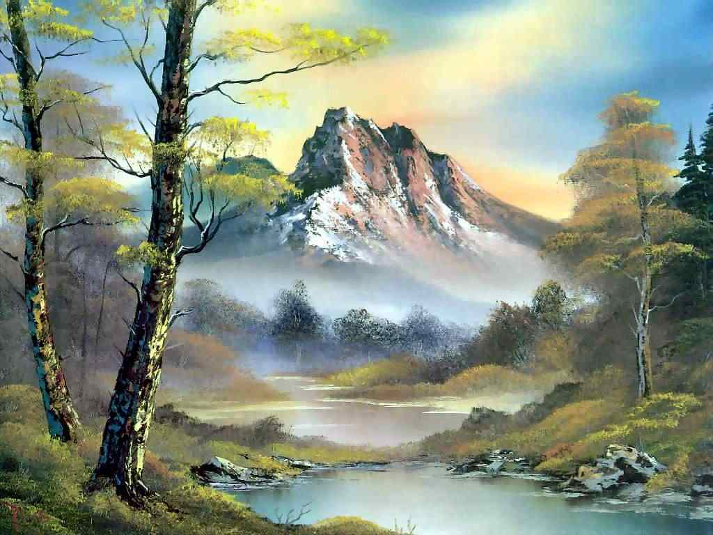 bob ross painting mountain