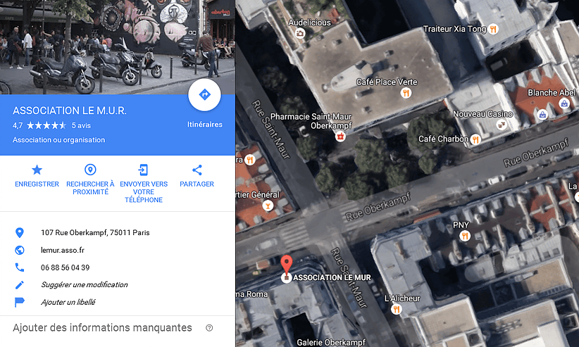 google map association le mur screen