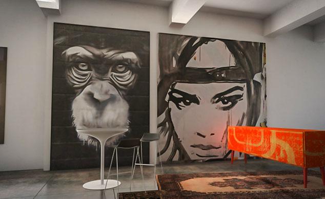 portrait géant décoration intérieure street art