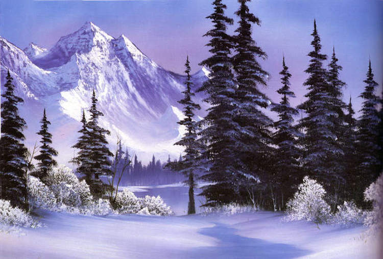 bob ross painting winter trees