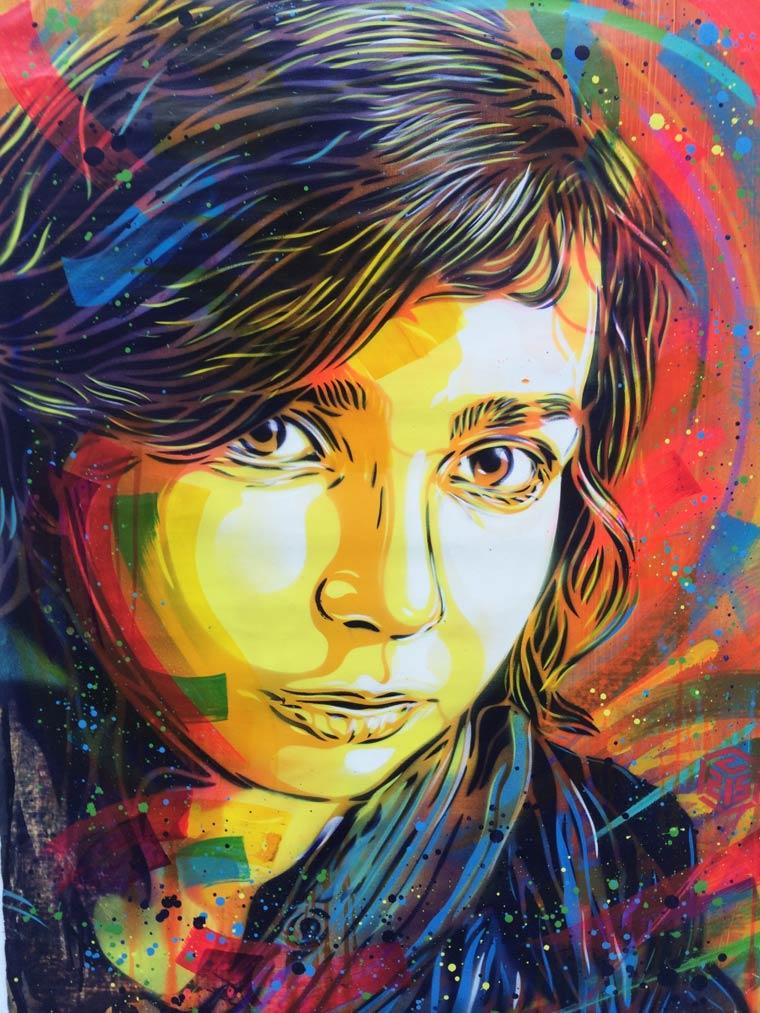 C215 street art sa fille nina