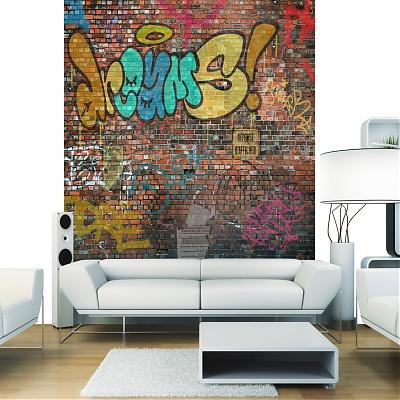 graff murale déco intérieure brique et tags