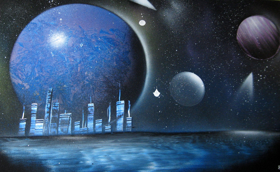 space painting planete et ville