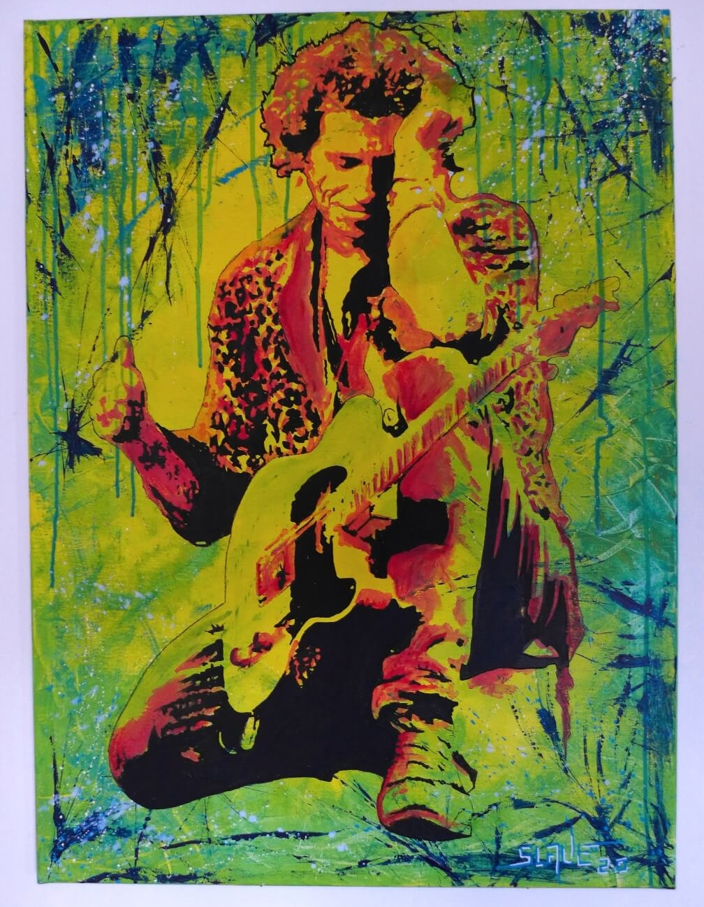 Keith Richards Street art on canvas tableau the rolling stones guitar par Slave 2.0