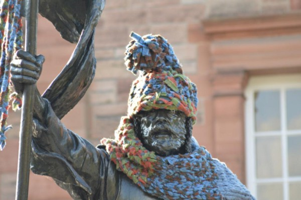 yarn bombing grace brett statue