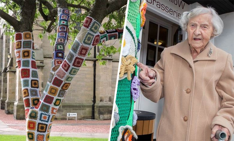 grace brett yarn bombing showing her work