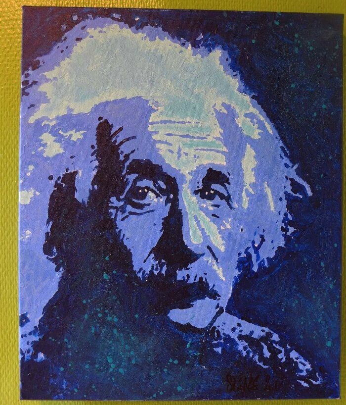 Tableau albert einstein street art- slave2.0