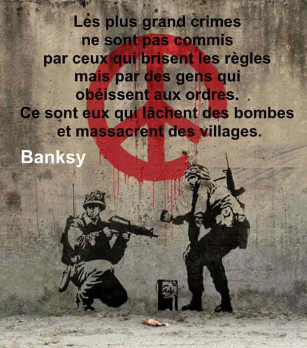 citation street art guerre banksy