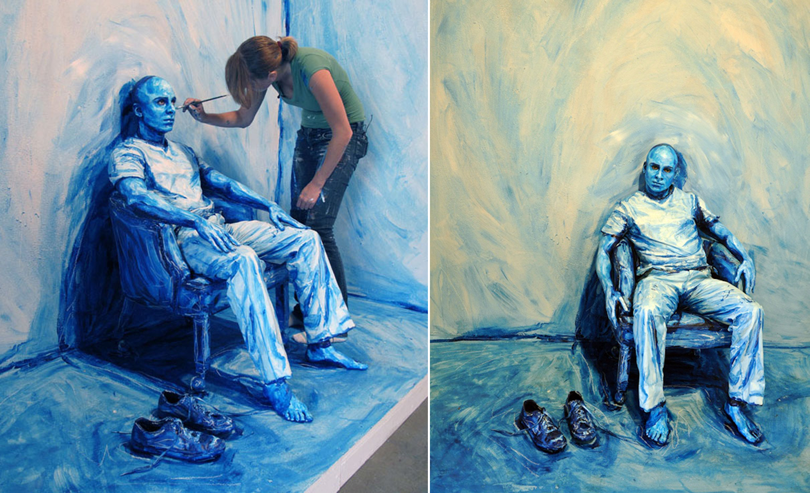 alexa meade blue man on chair illusion 3D