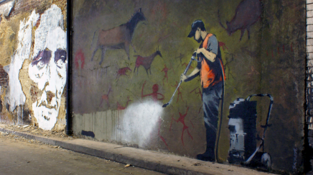 Vhils Banksy street art Cans Festival Londres