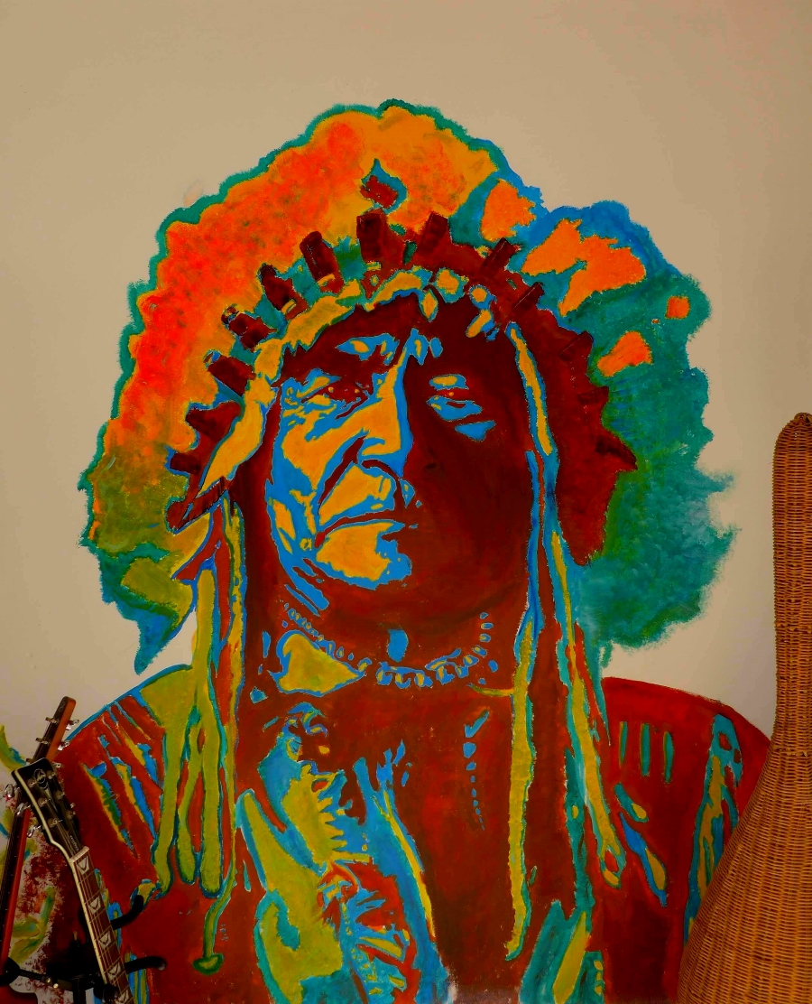 Indian Chief Street art on wall sur mur par Slave 2.0