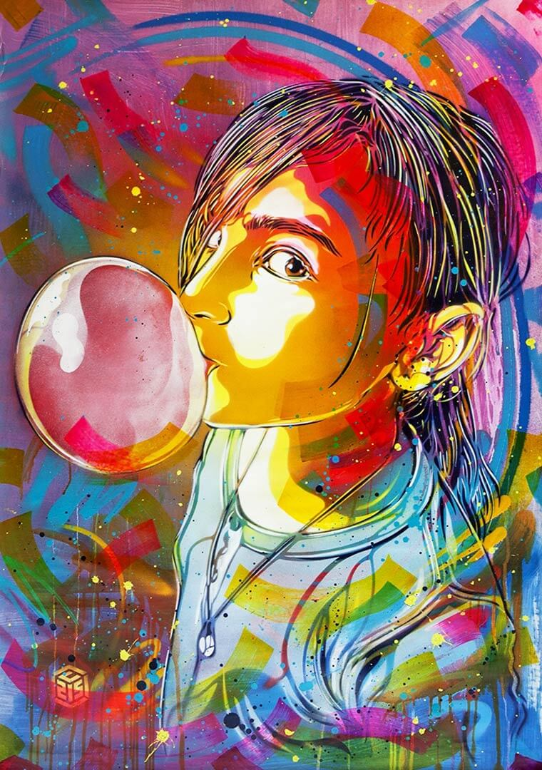 C215 street art nina bubble