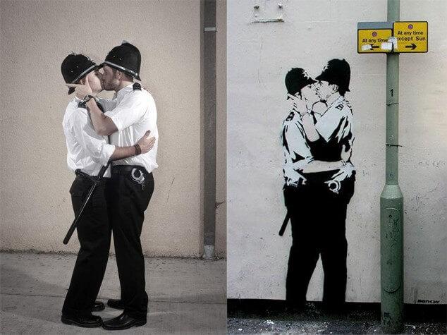 pochoir street art avant après banksy le baiser policier