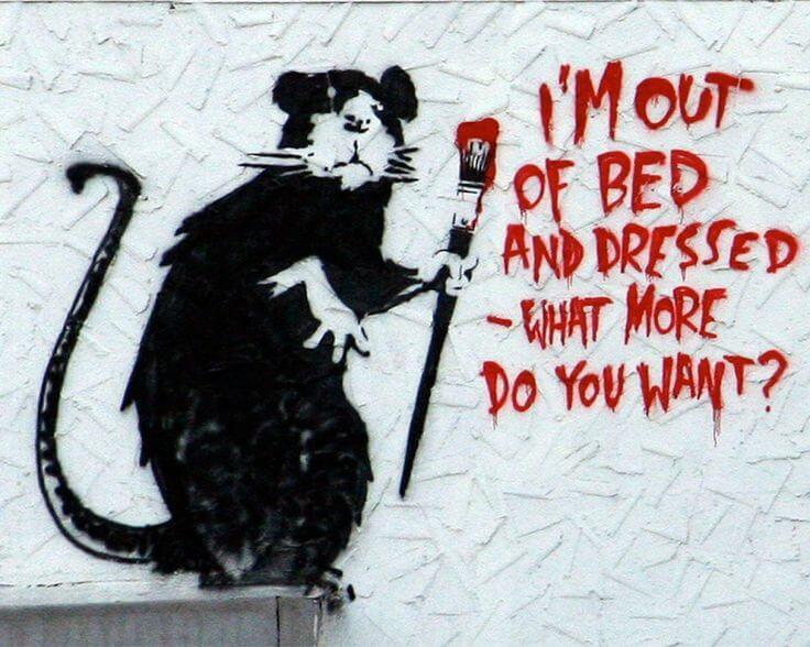 Banksy rat im out of bad inspired by blek le rat