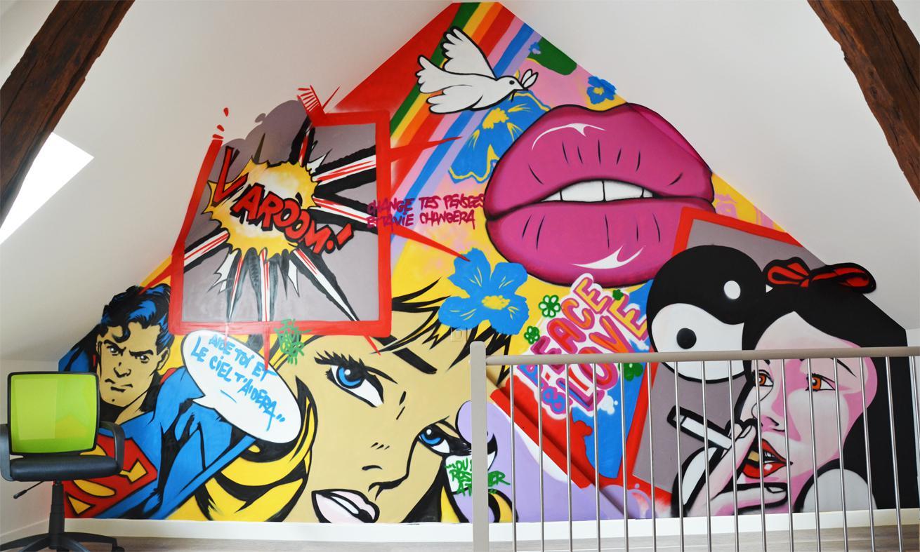 graffiti mural décoration intérieure comble et mezannine