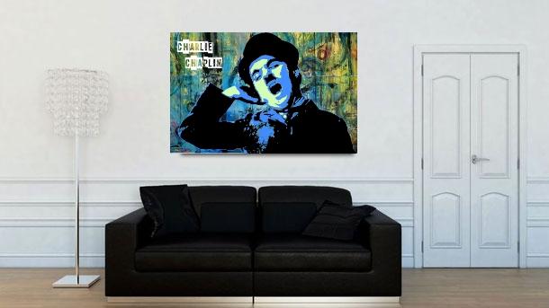 tableau street art déco charlie chaplin