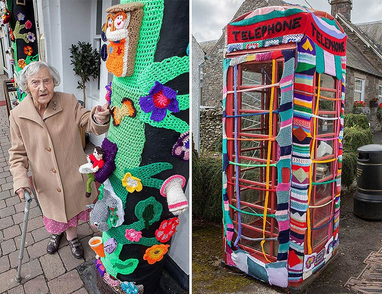 yarn bombing grace brett telephone phone london street art