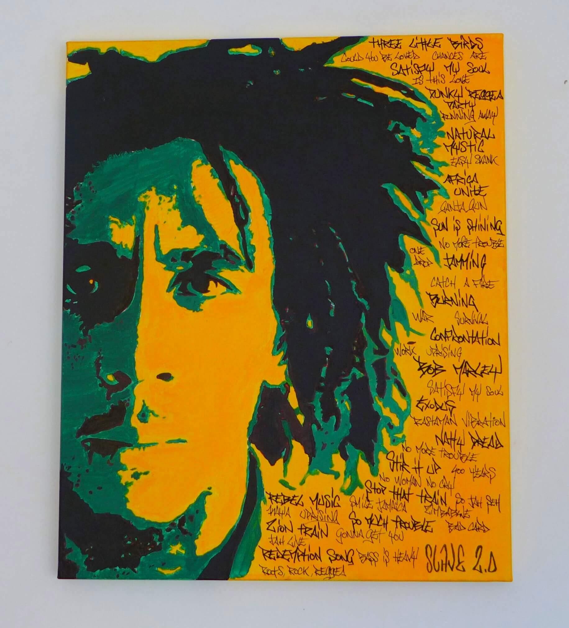Bob Marley- Rebel Music - tableau street art - Slave 2.0