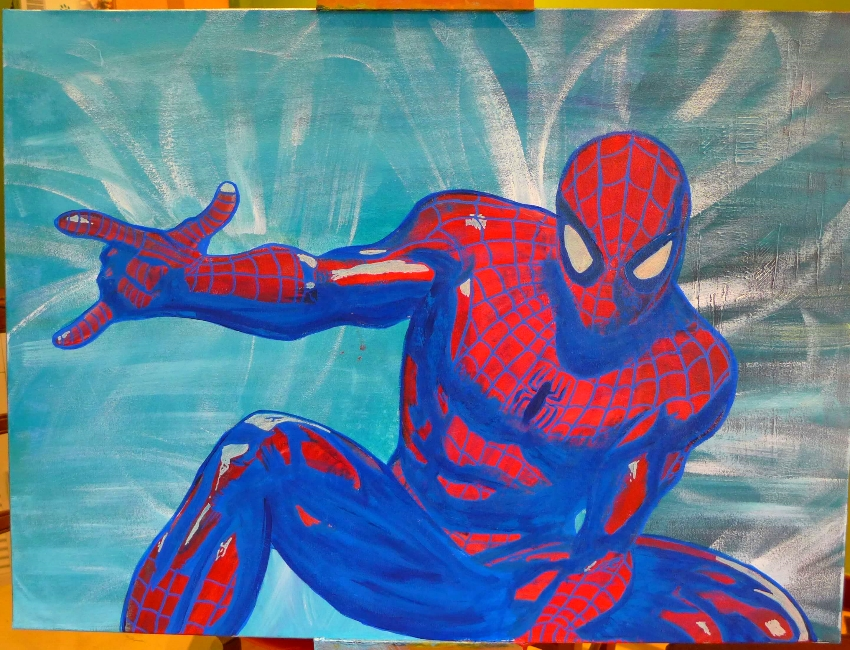 Spiderman The amazing street art sur toile par Slave 2.0