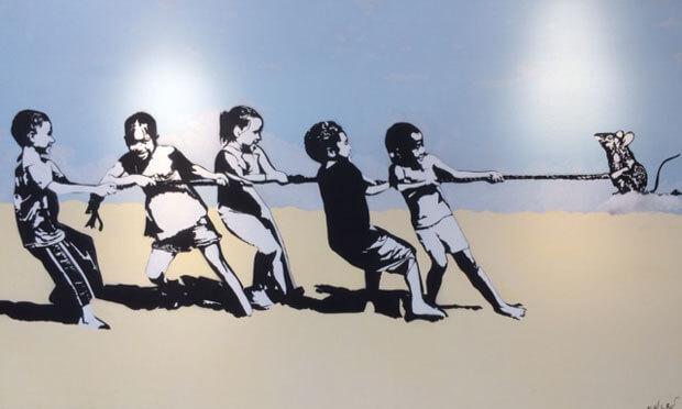blek le rat street art  rope pulling