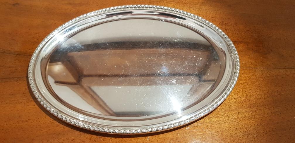 Tablett 800er Silber Kreuzband