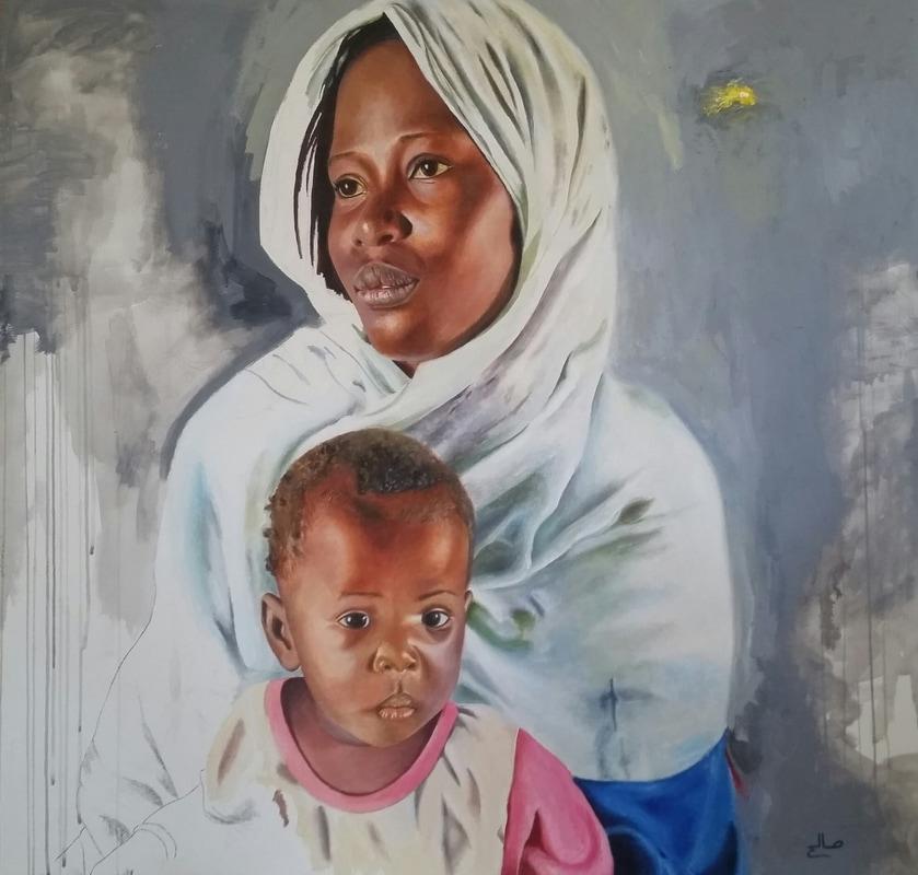 ''Amina'' discendente di uno schiavo, di Saleh Lo - 2016, Acrilico e olio su tela 95 x 100 cm
