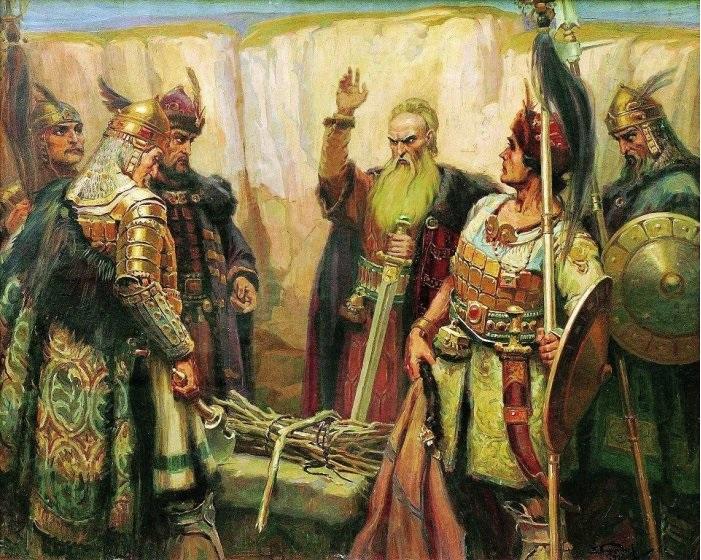 Re Khan Kubrat e i suoi figli - dipinto di Dimitar Gyudjenov (1926)