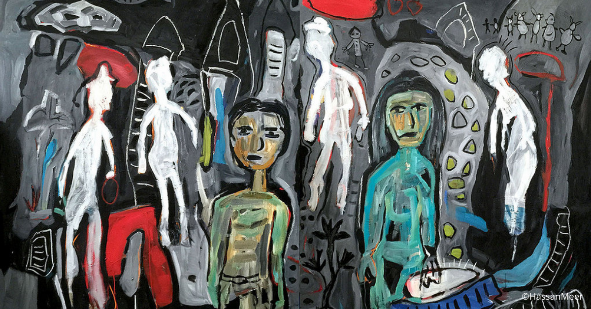 ''Adam and Eve and the White Spirit'' | 2011, oil on canvas, 300 x180 cm