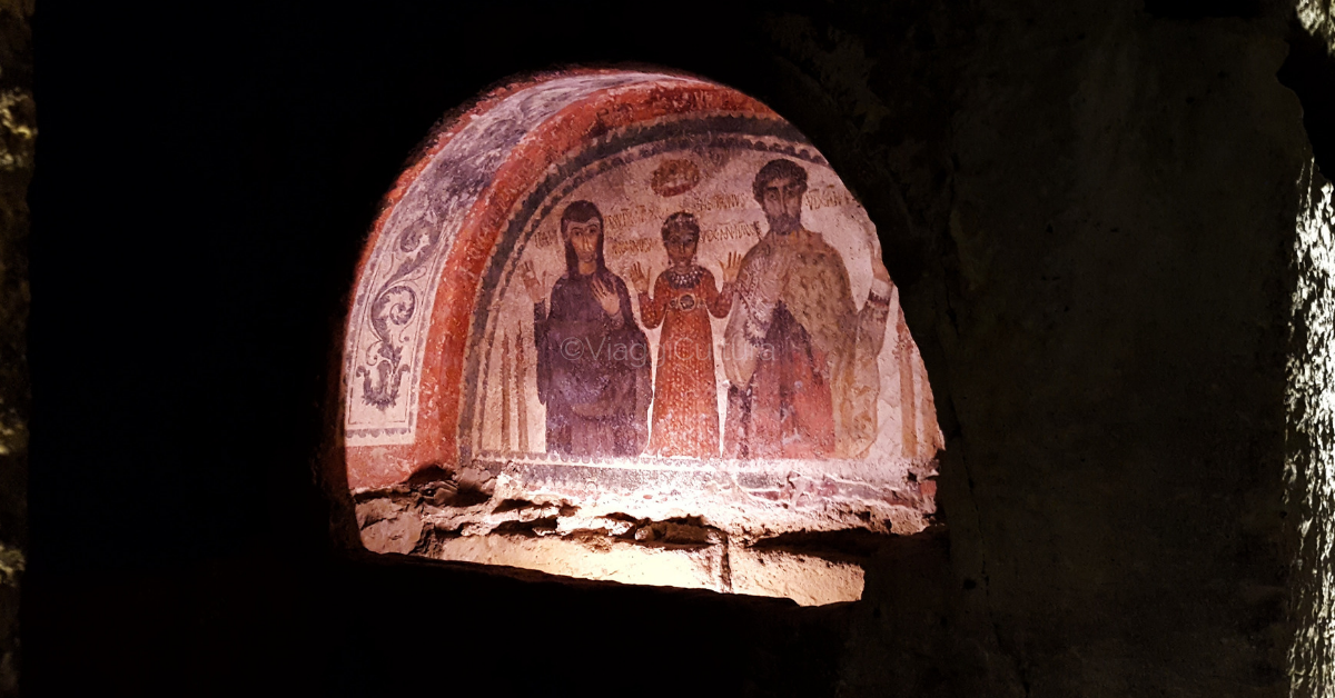Fresco of the little Nonnosa between her mother Ilaritas and her father Theotecnus
