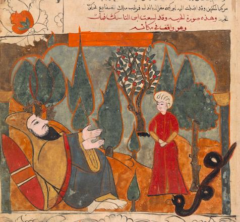 Il serpente racconta di aver morso il figlio dell'asceta per errore, Kalila wa Dimna