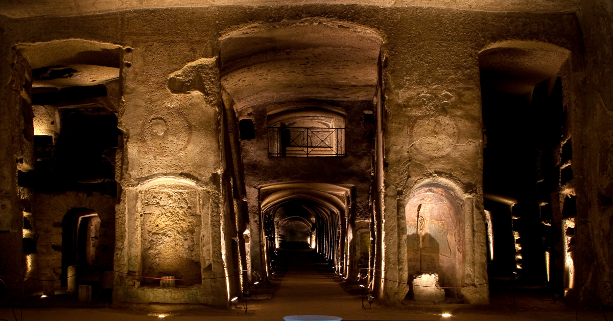 Lower level of the Catacombs of San Gennaro - Naples
