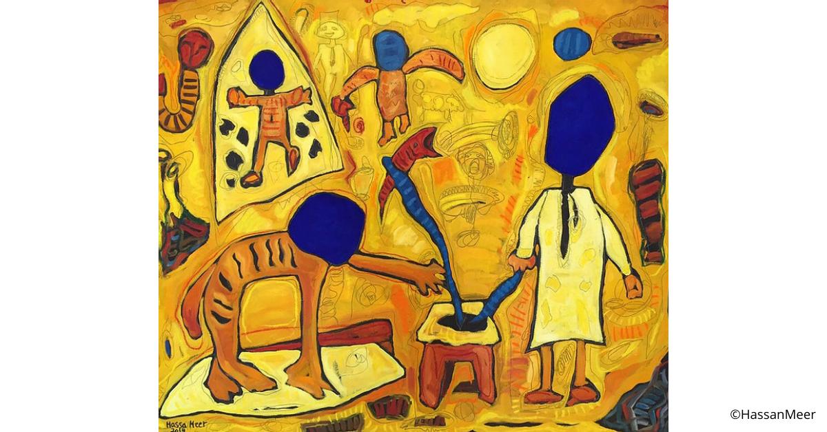 ''Prendendo il pesce'' | 2014, olio su tela con pigmenti blu, 180 x150 cm