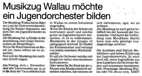 Bericht im Erbenheimer Anzeiger 25.10.2013