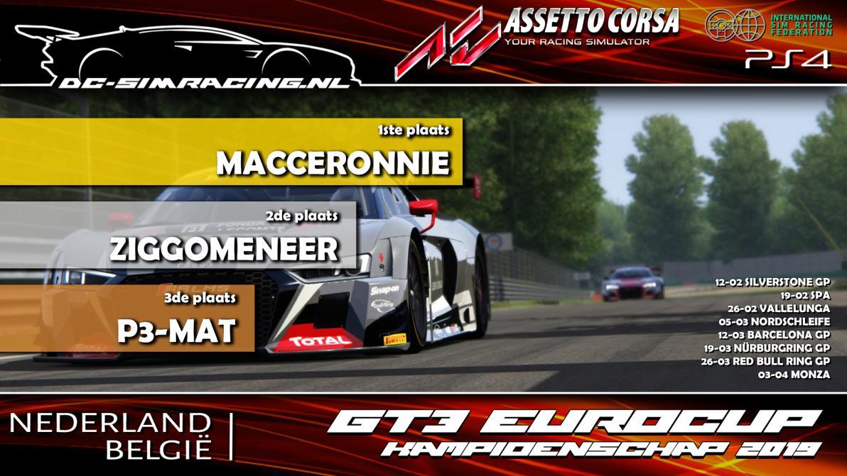DC-AC GT3 EUROCUP KAMPIOENSCHAP 2019 - 1. MACCERONNIE 2. ZIGGOMENEER 3. P3-MAT