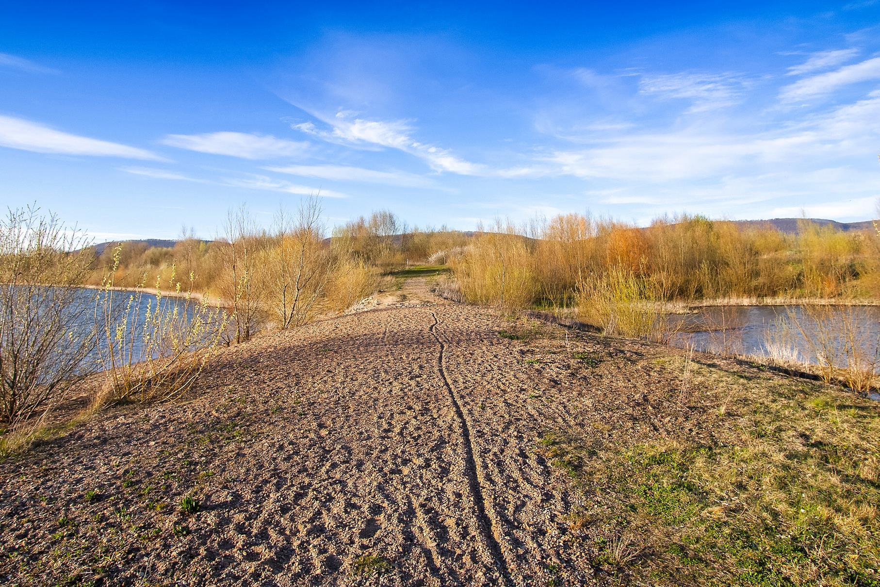 Der Rundweg, der den mittleren vorm östlichen Teich trennt.