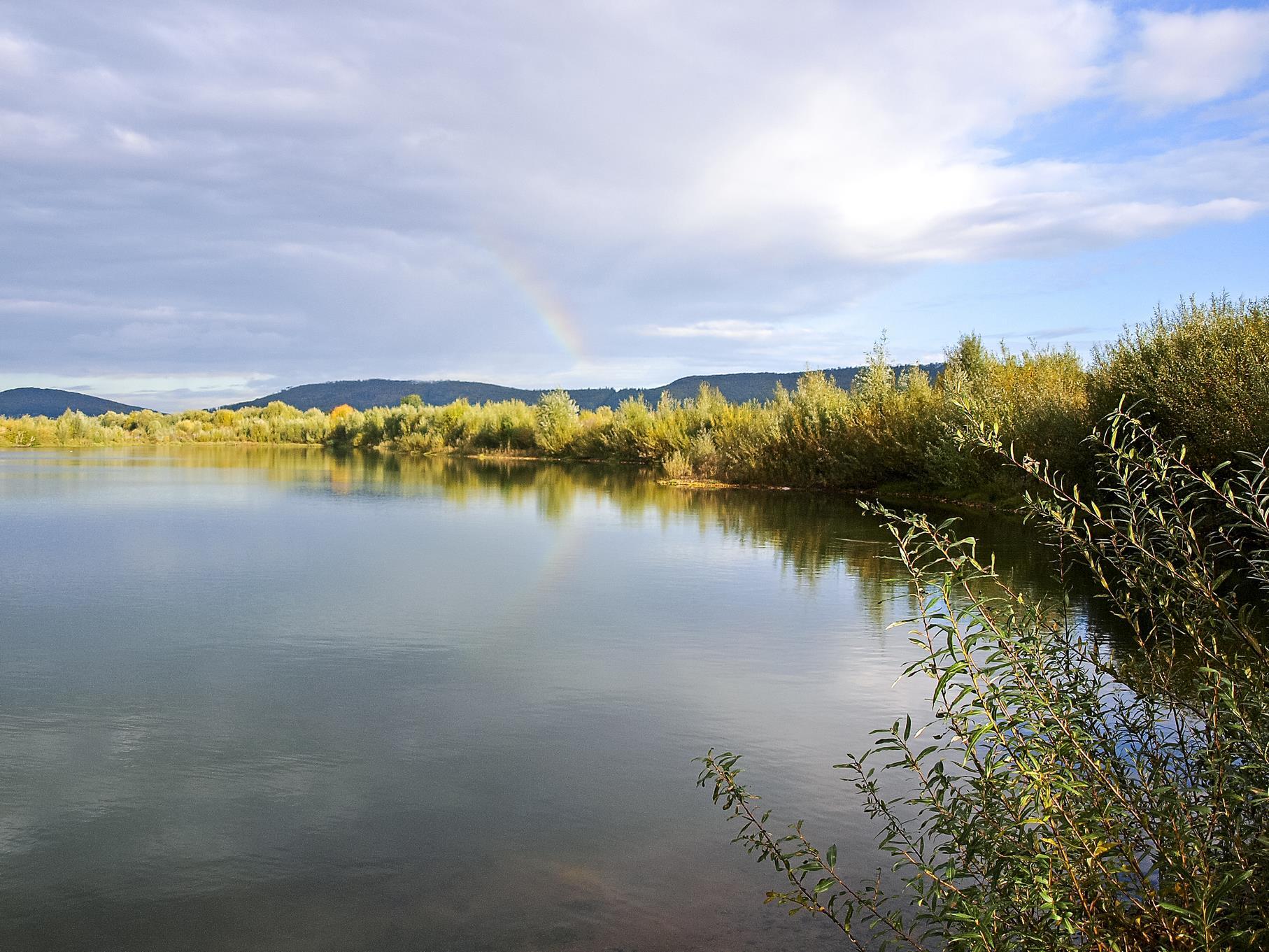 Ein kleiner Regenbogen am östlichen Teich.