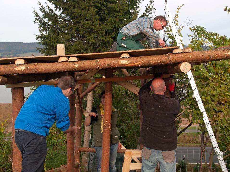 ...beim Bau eines Schaf-Stalls. - Foto: Kathy Büscher