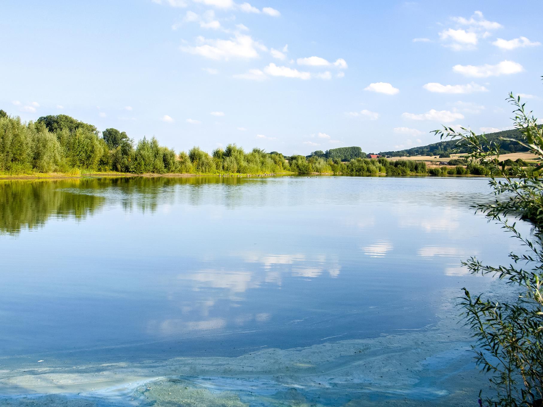 Wolkenspiegelung am mittleren Teich.