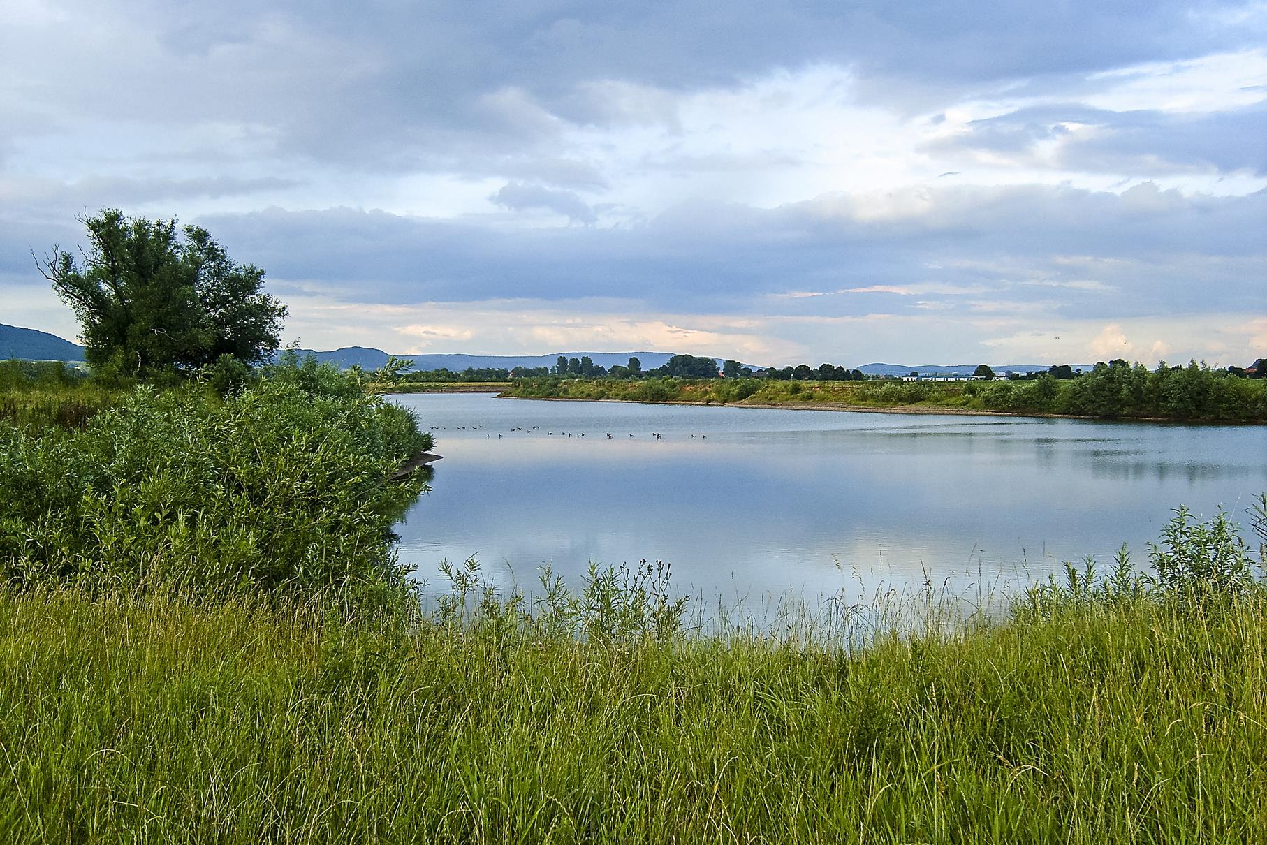 Der westliche Teich am Abend.